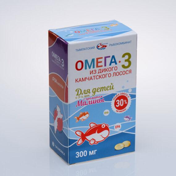 Омега-3 из дикого камчатского лосося для детей, в блистере 84 капсул по 300 мг с ароматом малины