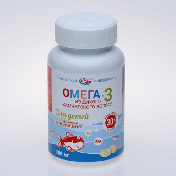 Омега-3 из дикого камчатского лосося для детей, в банке 250 капсул по 300 мг с ароматом апельсина